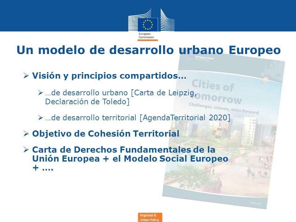 Regional & Urban Policy  Visión y principios compartidos…  …de desarrollo urbano [Carta de Leipzig, Declaración de Toledo]  …de desarrollo territorial [AgendaTerritorial 2020]  Objetivo de Cohesión Territorial  Carta de Derechos Fundamentales de la Unión Europea + el Modelo Social Europeo + ….