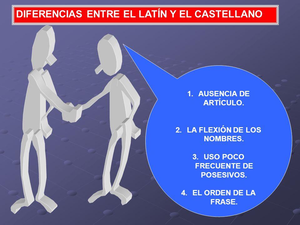 DIFERENCIAS ENTRE EL LATÍN Y EL CASTELLANO 1.AUSENCIA DE ARTÍCULO.