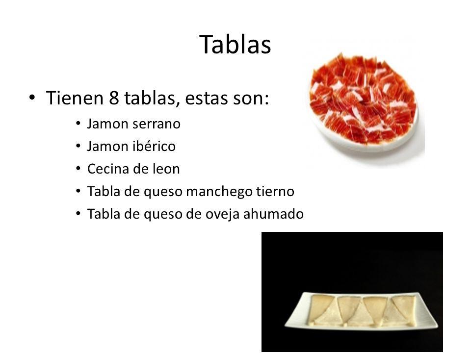 Tablas Tienen 8 tablas, estas son: Jamon serrano Jamon ibérico Cecina de leon Tabla de queso manchego tierno Tabla de queso de oveja ahumado