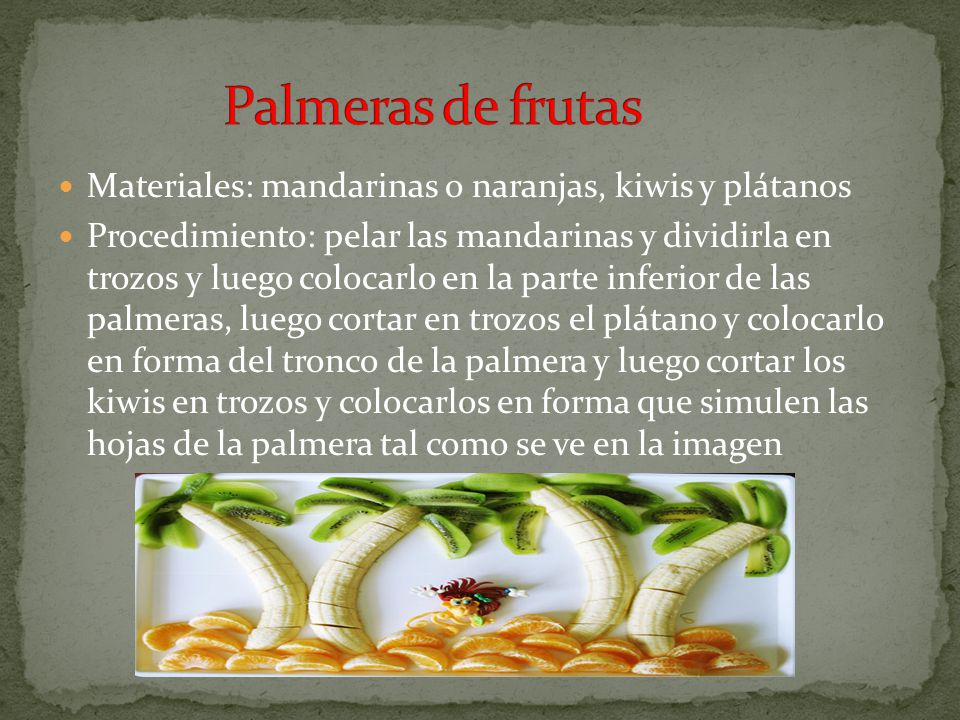 Materiales: Uvas, Naranjas, palitos de brochetas Procedimiento: colocar las uvas en una hilera y ponerlos en un palito de brochetas y luego colocar trozos de naranja para simular las alas tal como en la imagen