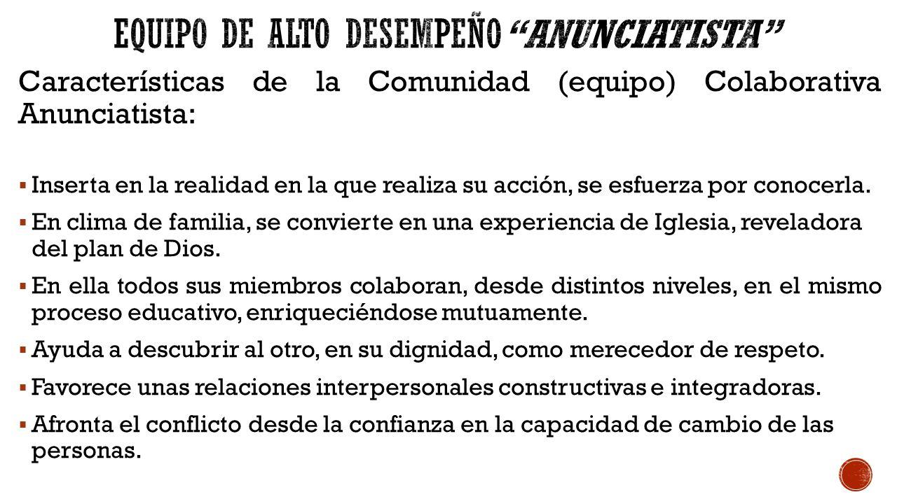 Características de la Comunidad (equipo) Colaborativa Anunciatista:  Inserta en la realidad en la que realiza su acción, se esfuerza por conocerla.