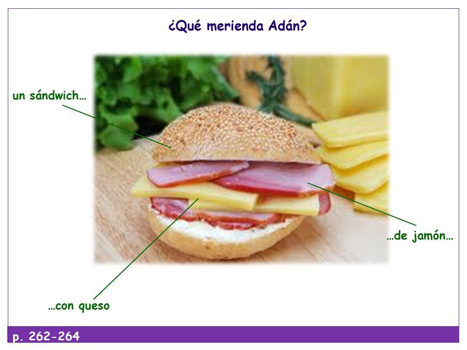¿Qué merienda Adán un sándwich… …de jamón… …con queso p. 262-264