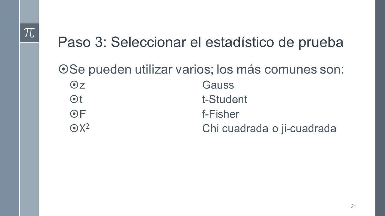 Paso 3: Seleccionar el estadístico de prueba  Se pueden utilizar varios; los más comunes son:  zGauss  tt-Student  Ff-Fisher  Χ 2 Chi cuadrada o ji-cuadrada 21