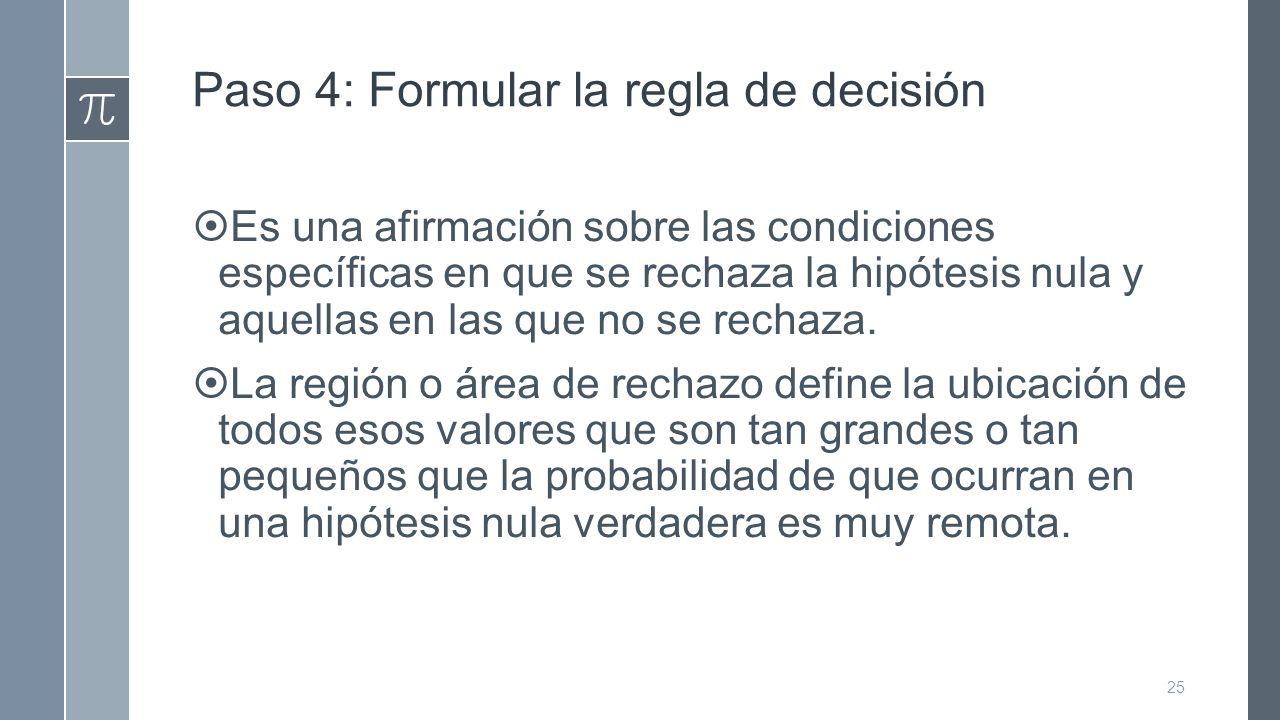 Paso 4: Formular la regla de decisión  Es una afirmación sobre las condiciones específicas en que se rechaza la hipótesis nula y aquellas en las que no se rechaza.