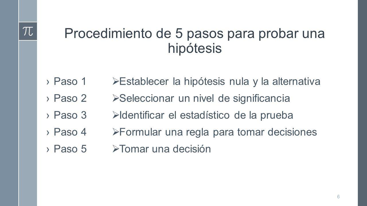 Procedimiento de 5 pasos para probar una hipótesis ›Paso 1 ›Paso 2 ›Paso 3 ›Paso 4 ›Paso 5  Establecer la hipótesis nula y la alternativa  Seleccionar un nivel de significancia  Identificar el estadístico de la prueba  Formular una regla para tomar decisiones  Tomar una decisión 6