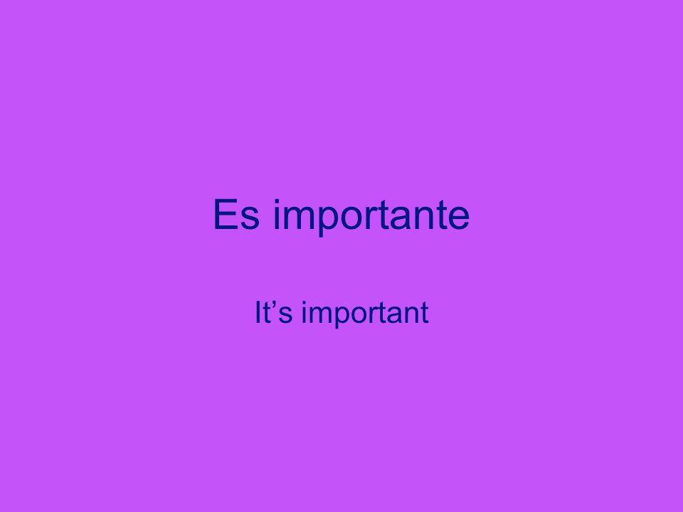 Es importante It's important