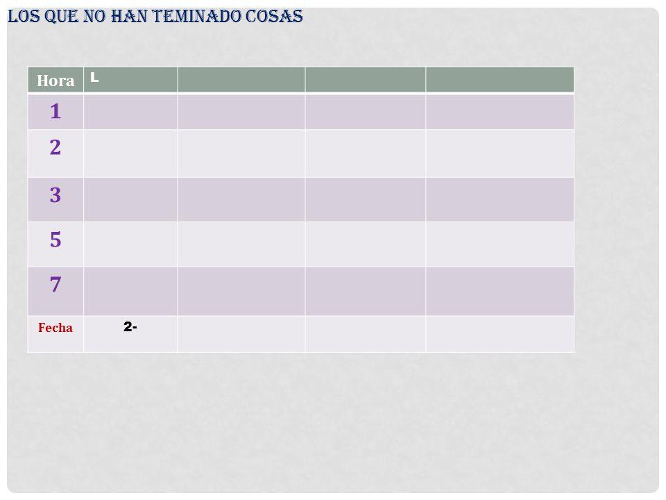 LOS QUE NO HAN TEMINADO COSAS Hora L 1 2 3 5 7 Fecha 2-