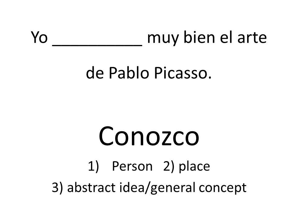 Yo __________ muy bien el arte de Pablo Picasso.