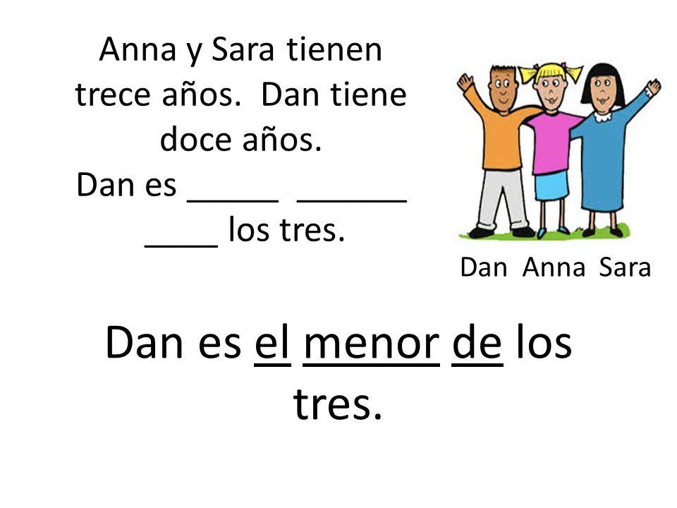 Anna y Sara tienen trece años. Dan tiene doce años.