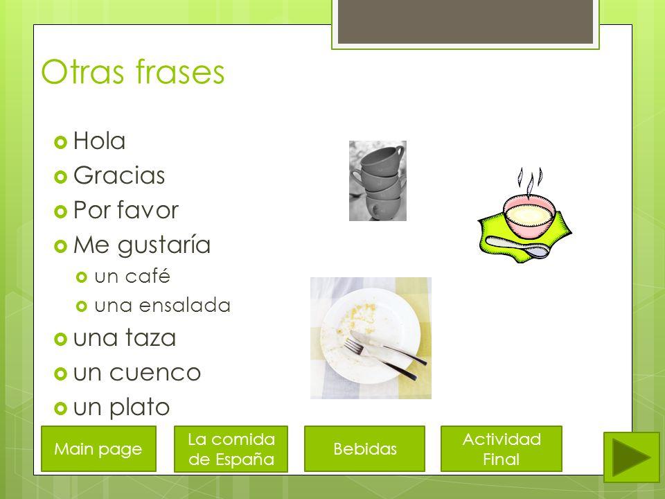 Bebidas  Café  con leche  con azúcar  Chocolate caliente  Té  Jugo de naranja  Agua  Leche Main page La comida de España Otras frases Actividad Final