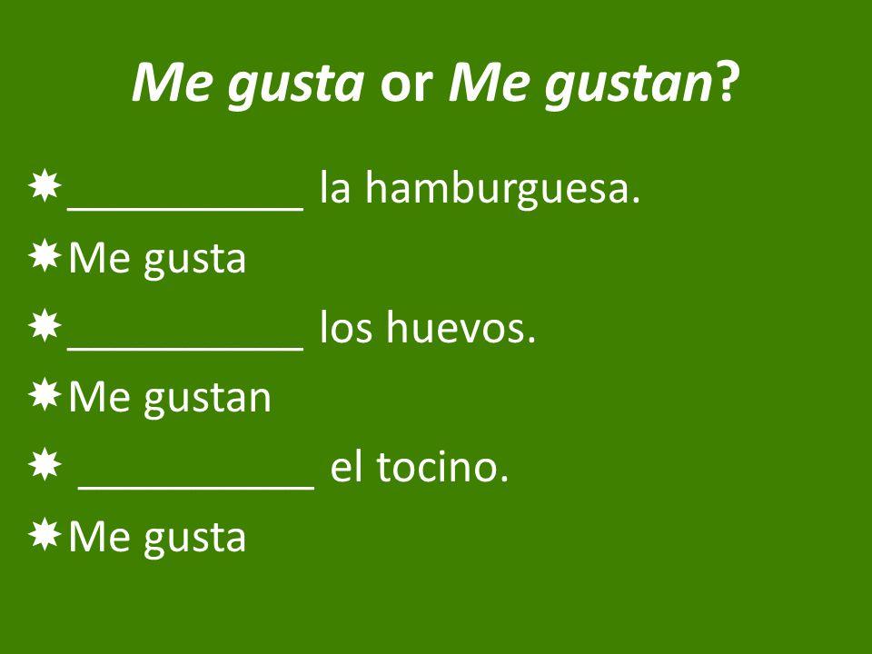 Me gusta or Me gustan.  __________ la hamburguesa.