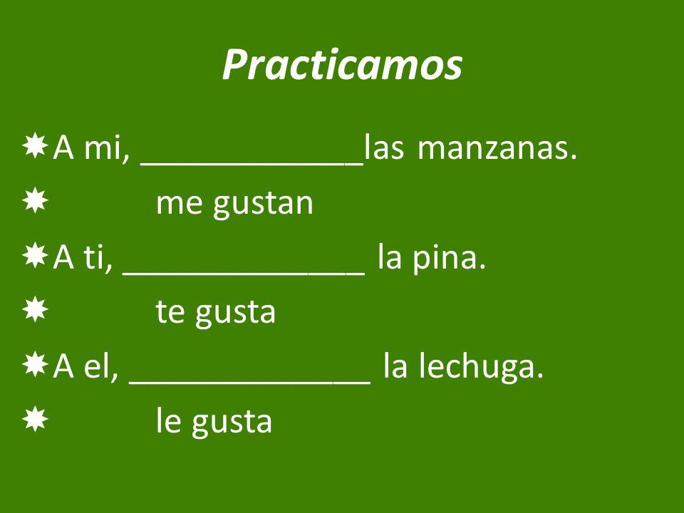 Practicamos  A mi, ____________las manzanas.  me gustan  A ti, _____________ la pina.