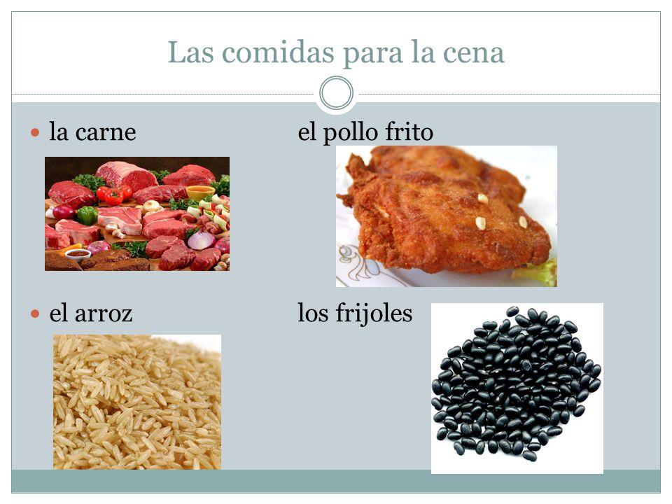 Las comidas para la cena la carneel pollo frito el arrozlos frijoles