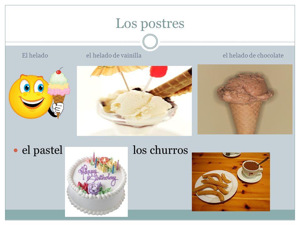 Los postres El helado el helado de vainillael helado de chocolate el pastellos churros