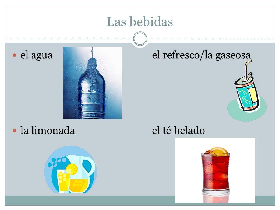 Las bebidas el aguael refresco/la gaseosa la limonadael té helado