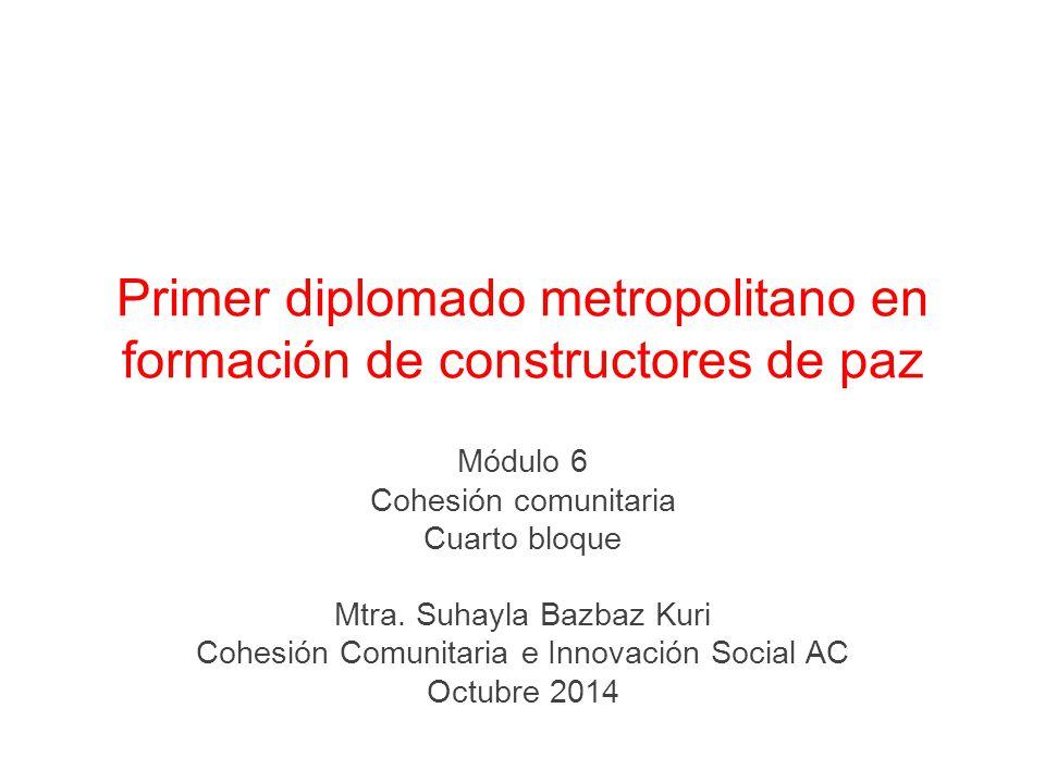 Primer diplomado metropolitano en formación de constructores de paz Módulo 6 Cohesión comunitaria Cuarto bloque Mtra.