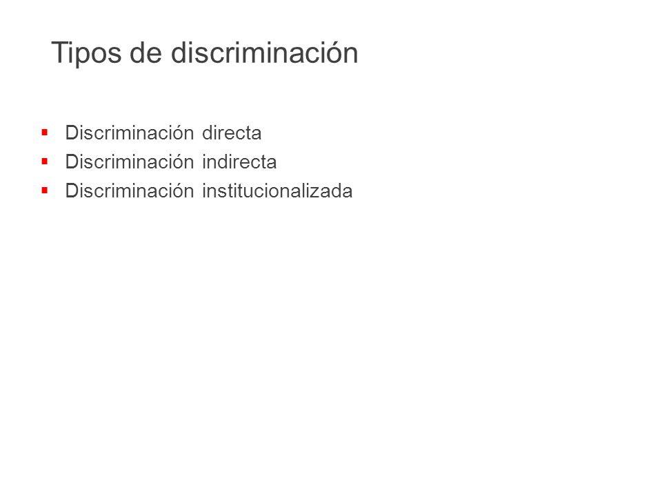  Discriminación directa  Discriminación indirecta  Discriminación institucionalizada Tipos de discriminación