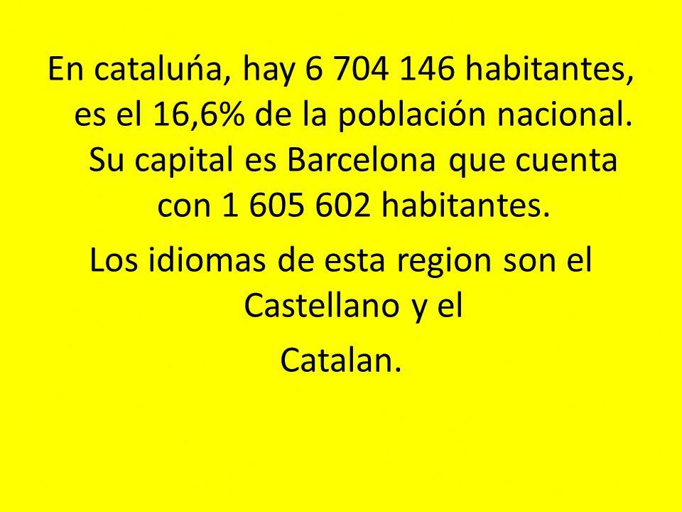 En cataluńa, hay 6 704 146 habitantes, es el 16,6% de la población nacional.