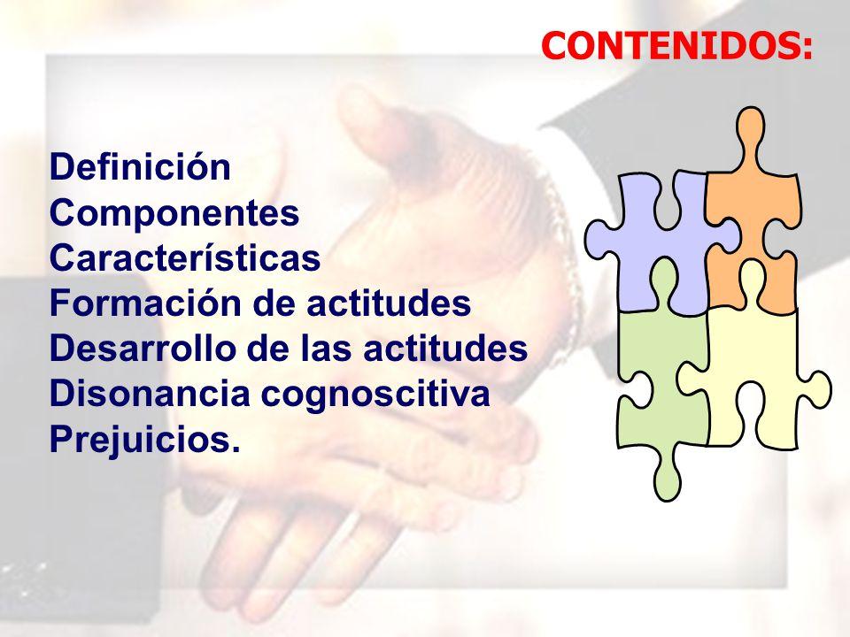 WIL FRE DO MAR QUI NA MAU NY Definición Componentes Características Formación de actitudes Desarrollo de las actitudes Disonancia cognoscitiva Prejuicios.