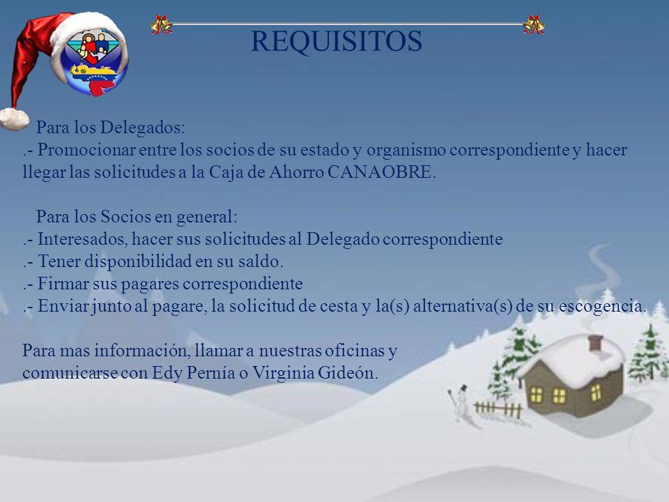 Para los Delegados:.- Promocionar entre los socios de su estado y organismo correspondiente y hacer llegar las solicitudes a la Caja de Ahorro CANAOBRE.