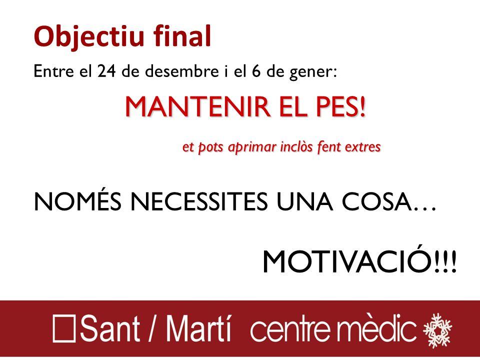 Objectiu final Entre el 24 de desembre i el 6 de gener: MANTENIR EL PES.