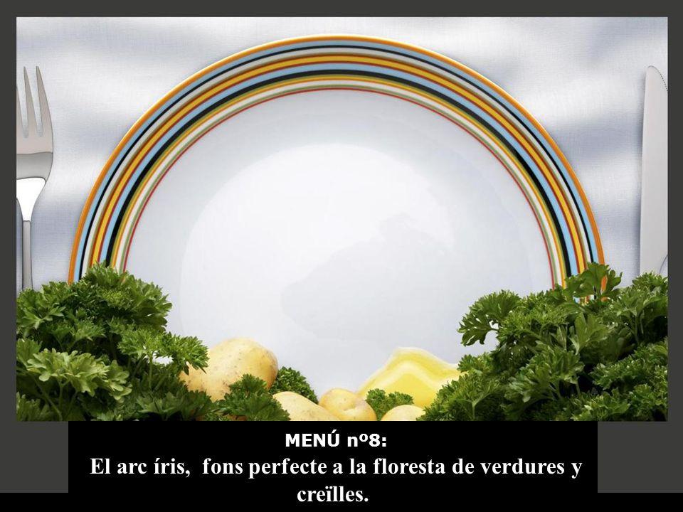 MENÚ nº8: El arc íris, fons perfecte a la floresta de verdures y creïlles.