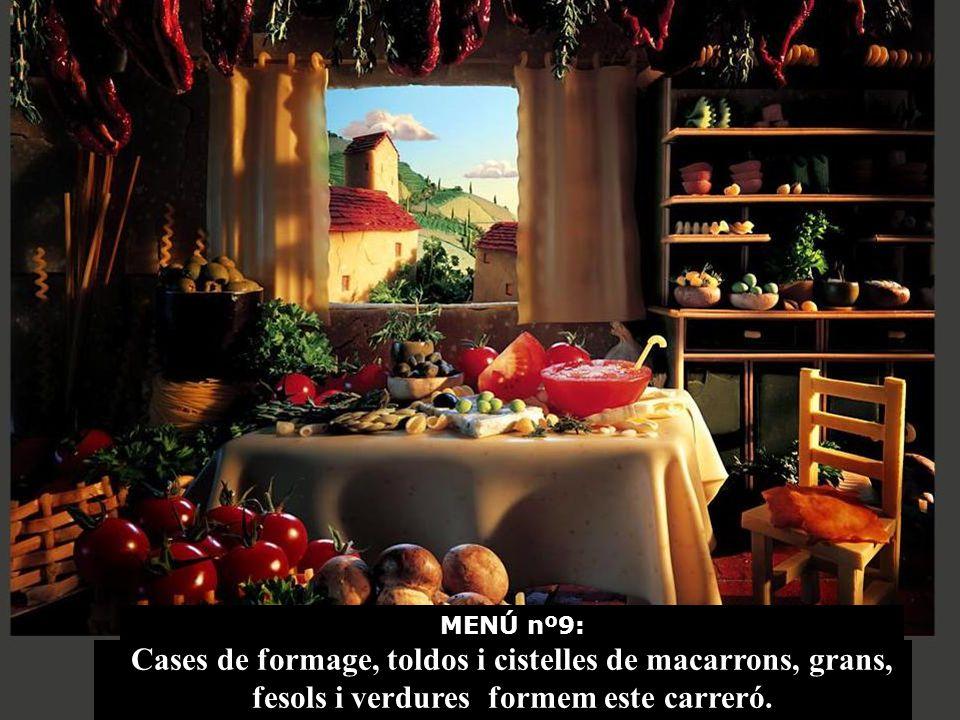 Cocina italiana con muchas verduras y macarrones. Casas de queso.