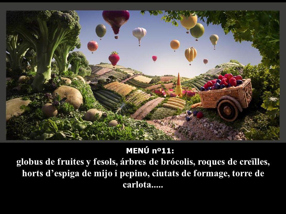MENÚ nº11: globus de fruites y fesols, árbres de brócolis, roques de creïlles, horts d'espiga de mijo i pepino, ciutats de formage, torre de carlota.....