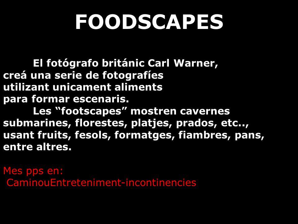FOODSCAPES El fotógrafo británic Carl Warner, creá una serie de fotografíes utilizant unicament aliments para formar escenaris.