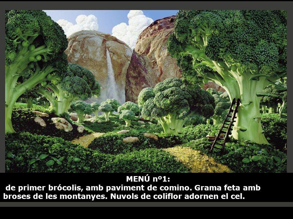 MENÚ nº1: de primer brócolis, amb paviment de comino.