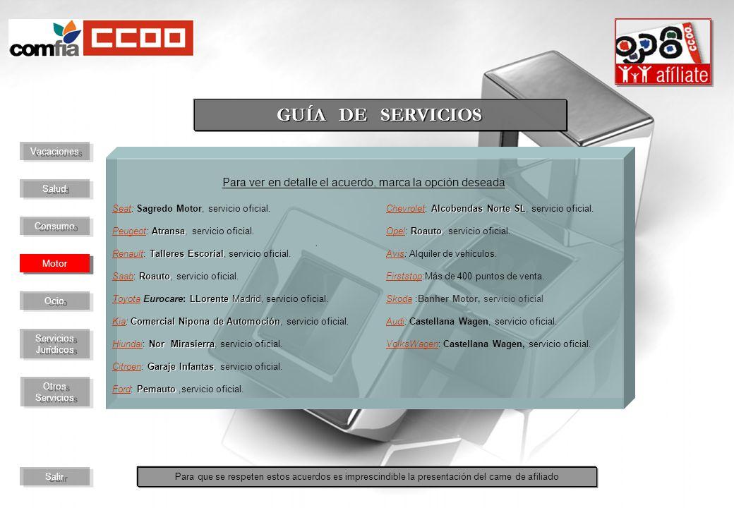 Para ver en detalle el acuerdo, marca la opción deseada Alcobendas Norte SL Seat: Sagredo Motor, servicio oficial.