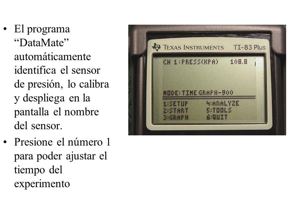 El programa DataMate automáticamente identifica el sensor de presión, lo calibra y despliega en la pantalla el nombre del sensor.