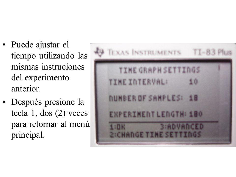 Puede ajustar el tiempo utilizando las mismas instruciones del experimento anterior.