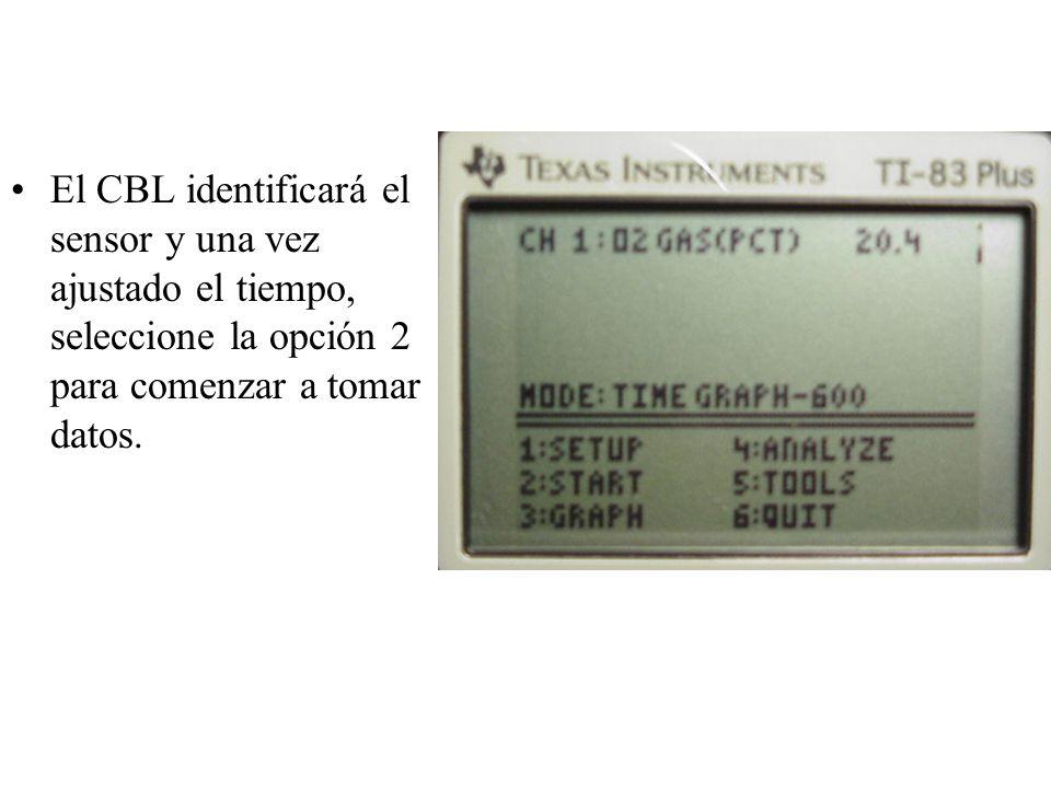 El CBL identificará el sensor y una vez ajustado el tiempo, seleccione la opción 2 para comenzar a tomar datos.