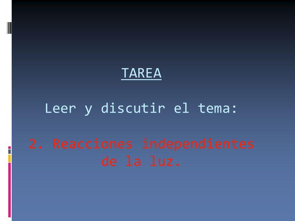 TAREA Leer y discutir el tema: 2. Reacciones independientes de la luz.