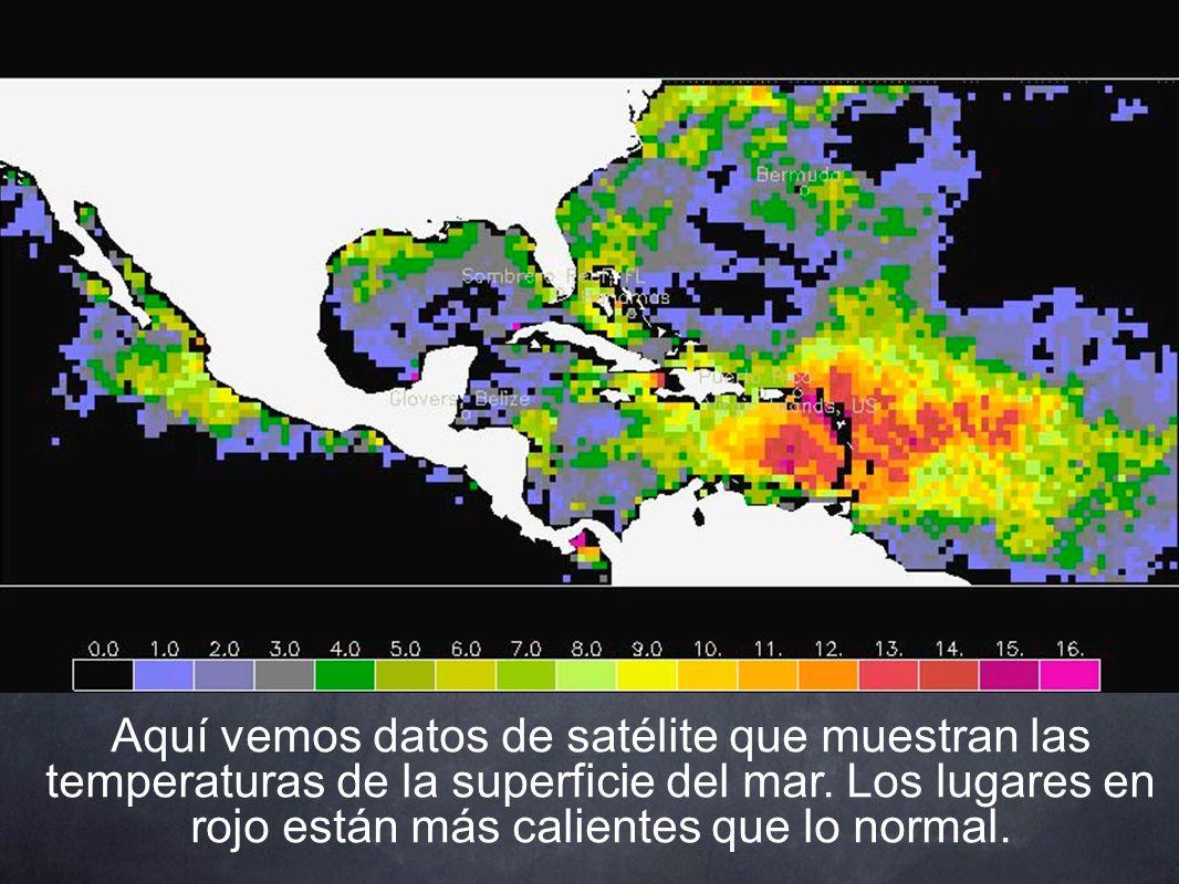 Aquí vemos datos de satélite que muestran las temperaturas de la superficie del mar.
