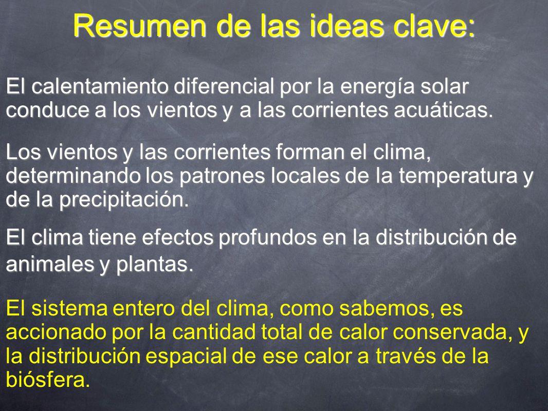 Resumen de las ideas clave: El sistema entero del clima, como sabemos, es accionado por la cantidad total de calor conservada, y la distribución espacial de ese calor a través de la biósfera.
