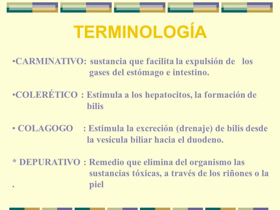 TERMINOLOGÍA CARMINATIVO: sustancia que facilita la expulsión de los gases del estómago e intestino.