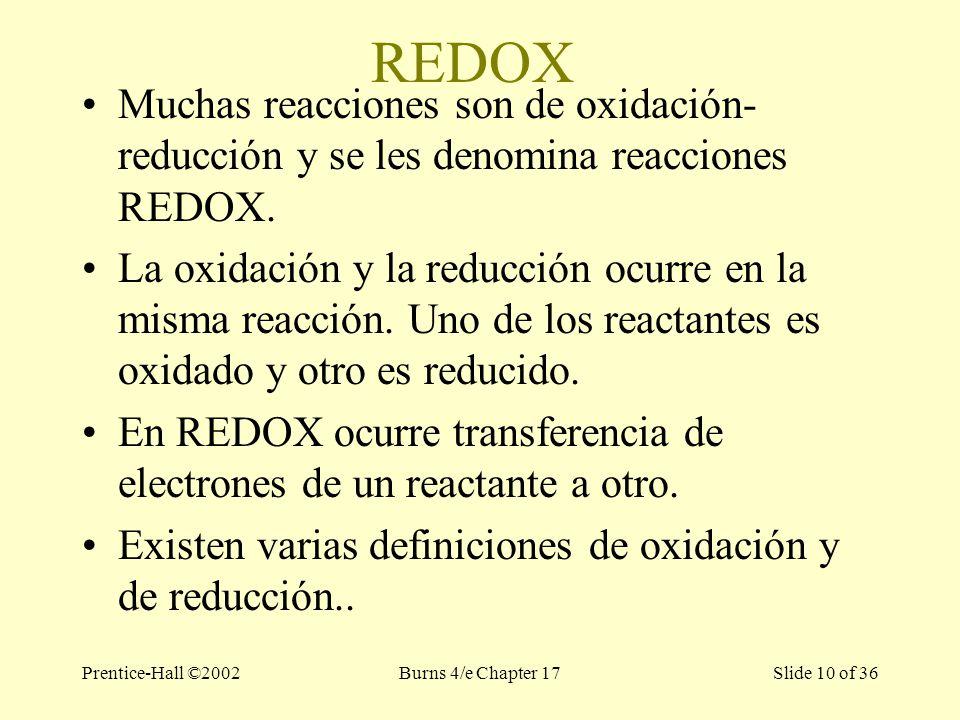 Prentice-Hall ©2002Burns 4/e Chapter 17 Slide 10 of 36 REDOX Muchas reacciones son de oxidación- reducción y se les denomina reacciones REDOX.