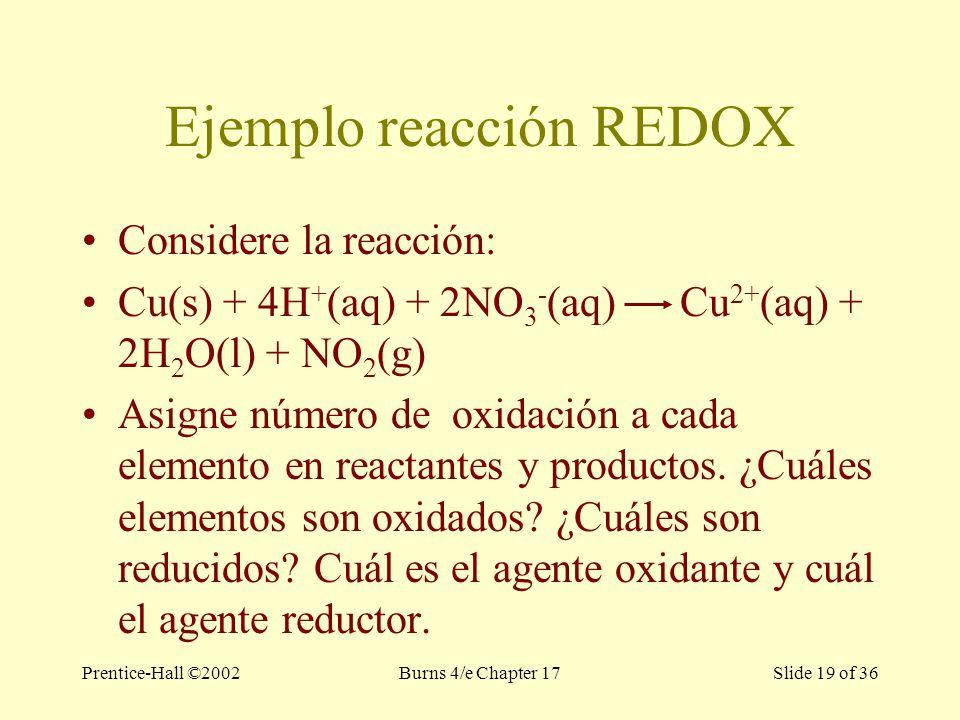 Prentice-Hall ©2002Burns 4/e Chapter 17 Slide 19 of 36 Ejemplo reacción REDOX Considere la reacción: Cu(s) + 4H + (aq) + 2NO 3 - (aq) Cu 2+ (aq) + 2H 2 O(l) + NO 2 (g) Asigne número de oxidación a cada elemento en reactantes y productos.