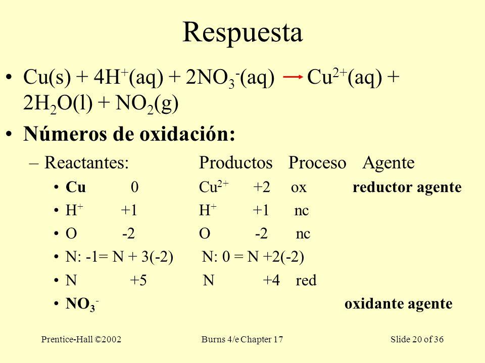 Prentice-Hall ©2002Burns 4/e Chapter 17 Slide 20 of 36 Respuesta Cu(s) + 4H + (aq) + 2NO 3 - (aq) Cu 2+ (aq) + 2H 2 O(l) + NO 2 (g) Números de oxidación: –Reactantes: Productos Proceso Agente Cu 0Cu 2+ +2 ox reductor agente H + +1H + +1 nc O -2O -2nc N: -1= N + 3(-2) N: 0 = N +2(-2) N +5 N +4red NO 3 - oxidante agente
