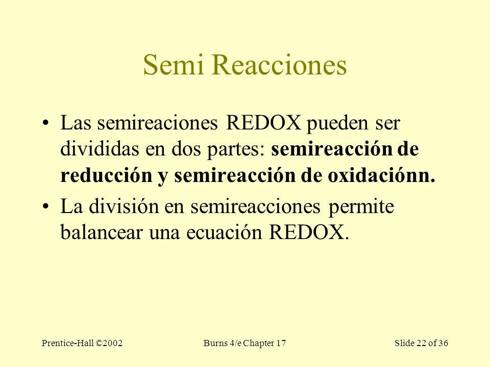 Prentice-Hall ©2002Burns 4/e Chapter 17 Slide 22 of 36 Semi Reacciones Las semireaciones REDOX pueden ser divididas en dos partes: semireacción de reducción y semireacción de oxidaciónn.
