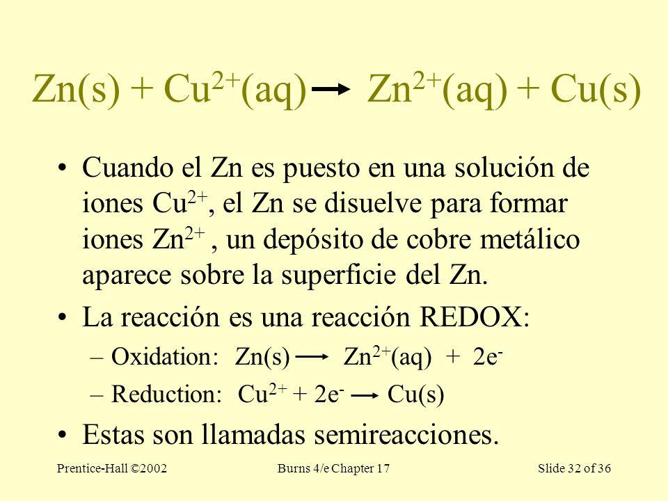 Prentice-Hall ©2002Burns 4/e Chapter 17 Slide 32 of 36 Zn(s) + Cu 2+ (aq) Zn 2+ (aq) + Cu(s) Cuando el Zn es puesto en una solución de iones Cu 2+, el Zn se disuelve para formar iones Zn 2+, un depósito de cobre metálico aparece sobre la superficie del Zn.