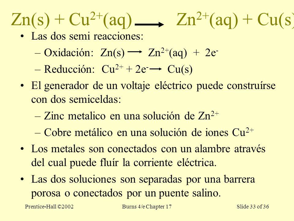 Prentice-Hall ©2002Burns 4/e Chapter 17 Slide 33 of 36 Zn(s) + Cu 2+ (aq) Zn 2+ (aq) + Cu(s) Las dos semi reacciones: –Oxidación: Zn(s) Zn 2+ (aq) + 2e - –Reducción: Cu 2+ + 2e - Cu(s) El generador de un voltaje eléctrico puede construírse con dos semiceldas: –Zinc metalico en una solución de Zn 2+ –Cobre metálico en una solución de iones Cu 2+ Los metales son conectados con un alambre através del cual puede fluír la corriente eléctrica.