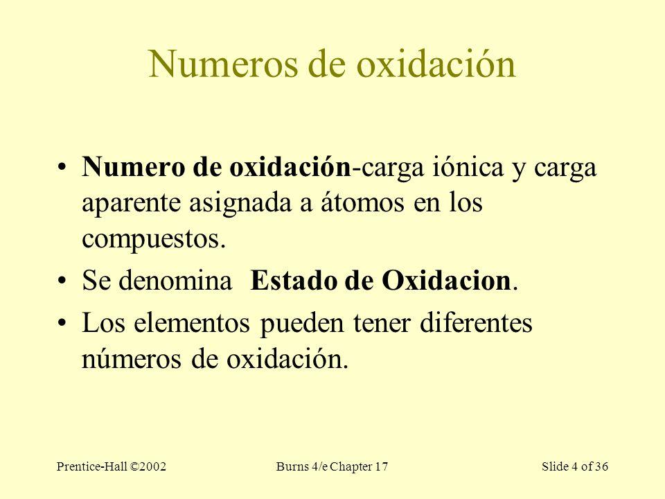 Prentice-Hall ©2002Burns 4/e Chapter 17 Slide 4 of 36 Numeros de oxidación Numero de oxidación-carga iónica y carga aparente asignada a átomos en los compuestos.
