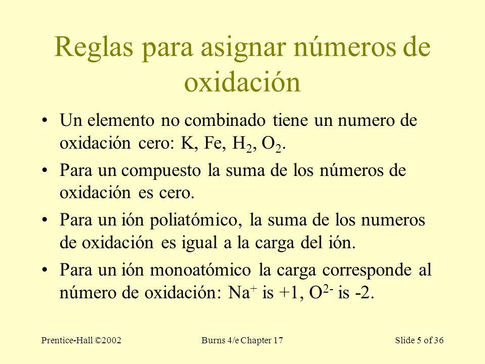 Prentice-Hall ©2002Burns 4/e Chapter 17 Slide 5 of 36 Reglas para asignar números de oxidación Un elemento no combinado tiene un numero de oxidación cero: K, Fe, H 2, O 2.