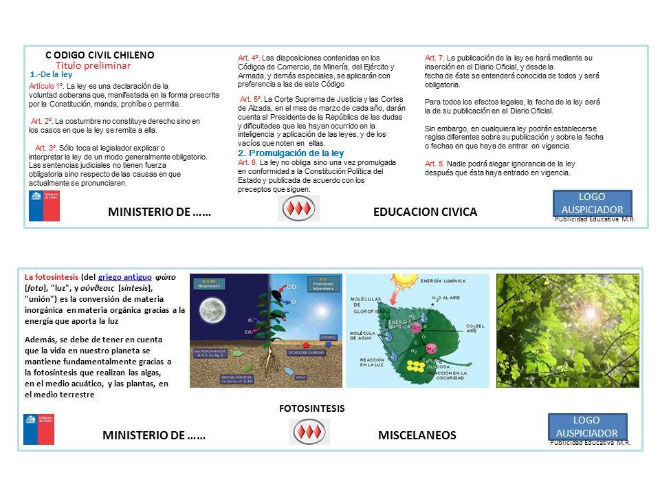 MINISTERIO DE …… MISCELANEOS LOGO AUSPICIADOR Publicidad Educativa M.R.