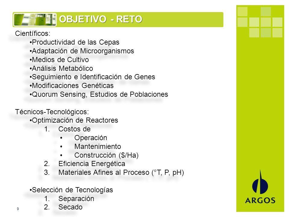9 OBJETIVO - RETO Científicos: Productividad de las Cepas Adaptación de Microorganismos Medios de Cultivo Análisis Metabólico Seguimiento e Identificación de Genes Modificaciones Genéticas Quorum Sensing, Estudios de Poblaciones Técnicos-Tecnológicos: Optimización de Reactores 1.Costos de Operación Mantenimiento Construcción ($/Ha) 2.Eficiencia Energética 3.Materiales Afines al Proceso (°T, P, pH) Selección de Tecnologías 1.Separación 2.Secado Científicos: Productividad de las Cepas Adaptación de Microorganismos Medios de Cultivo Análisis Metabólico Seguimiento e Identificación de Genes Modificaciones Genéticas Quorum Sensing, Estudios de Poblaciones Técnicos-Tecnológicos: Optimización de Reactores 1.Costos de Operación Mantenimiento Construcción ($/Ha) 2.Eficiencia Energética 3.Materiales Afines al Proceso (°T, P, pH) Selección de Tecnologías 1.Separación 2.Secado