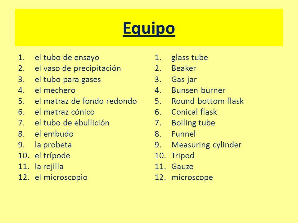 Equipo 1.el tubo de ensayo 2.el vaso de precipitación 3.el tubo para gases 4.el mechero 5.el matraz de fondo redondo 6.el matraz cónico 7.el tubo de ebullición 8.el embudo 9.la probeta 10.el trípode 11.la rejilla 12.el microscopio 1.glass tube 2.Beaker 3.Gas jar 4.Bunsen burner 5.Round bottom flask 6.Conical flask 7.Boiling tube 8.Funnel 9.Measuring cylinder 10.Tripod 11.Gauze 12.microscope