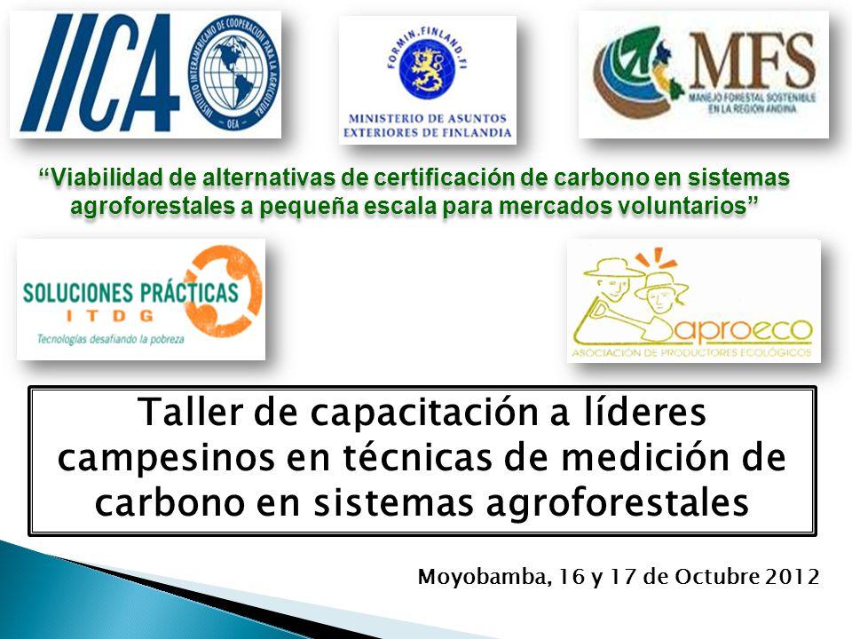 Viabilidad de alternativas de certificación de carbono en sistemas agroforestales a pequeña escala para mercados voluntarios Taller de capacitación a líderes campesinos en técnicas de medición de carbono en sistemas agroforestales Moyobamba, 16 y 17 de Octubre 2012
